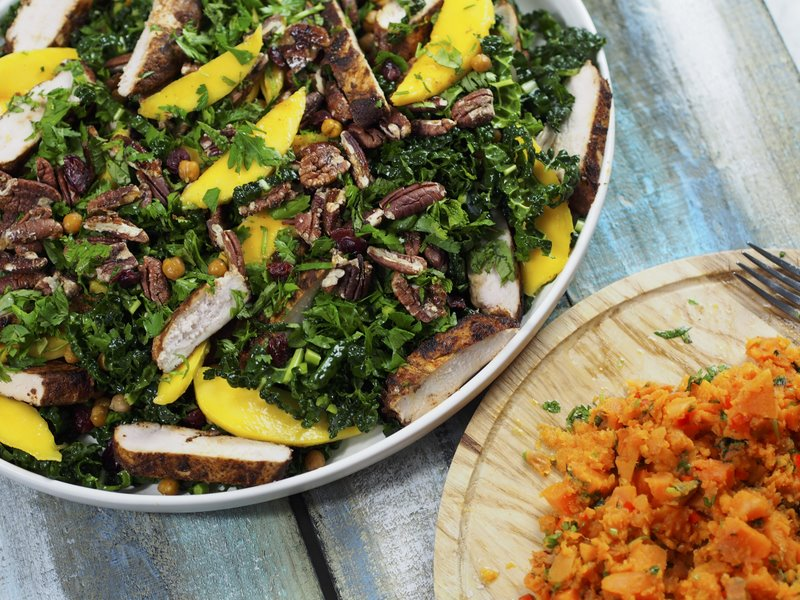 Chicken Salad with Kale, Mango and Crispy Chickpeas | Balaboosta